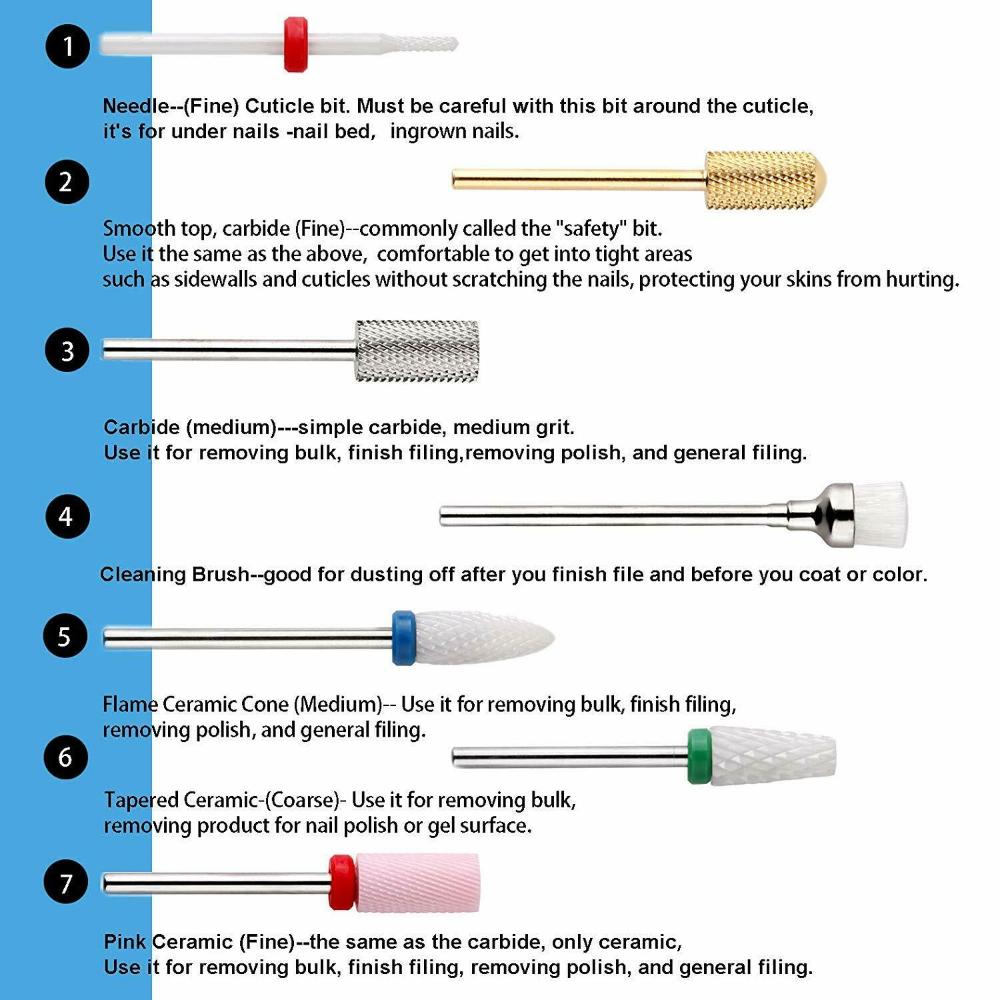 Makartt A 06 Cuticle Nail Drill Bits Set 7pcs Acrylic Ceramic Carbide Nail File Ebay In 2020 Acrylic Nail Drill Nail Drill Gel Nails Diy