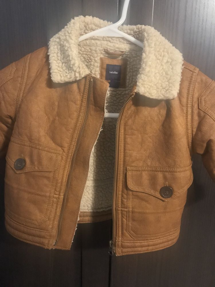 ba992023cfac Baby Gap Boys Brown Bomber Jacket Faux Leather Size 12-18m