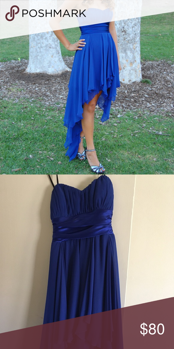 393a1ad53cd85 Royal blue high low prom dress Beautiful royal blue high low chiffon prom  dress!