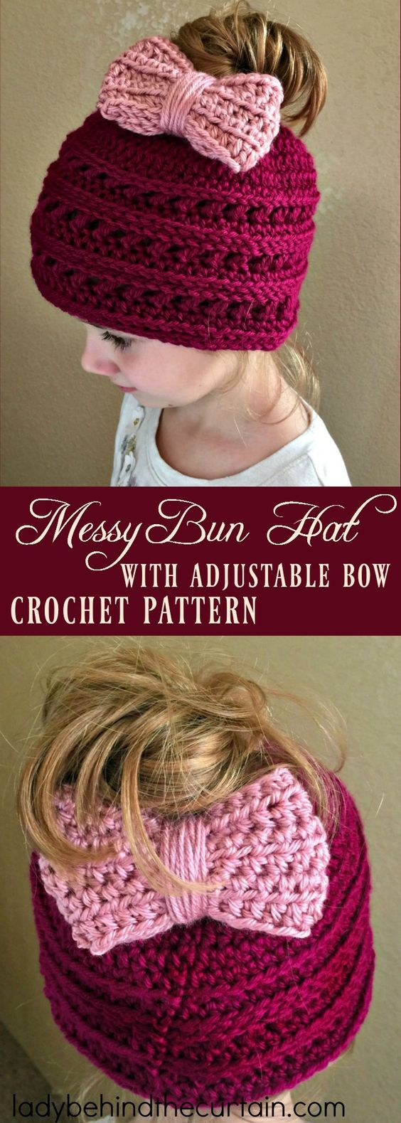 Messy Bun Hat with Adjustable Bow Crochet Pattern | Easy crochet ...