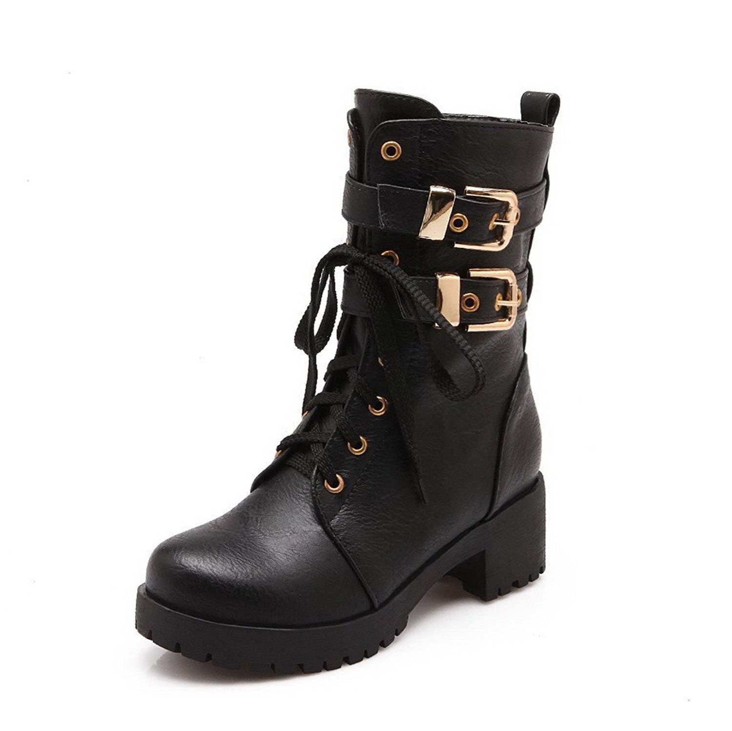 WeiPoot Womens Round Closed Toe Kitten Heels PU Soft Material Solid Boots with Metal Buckles
