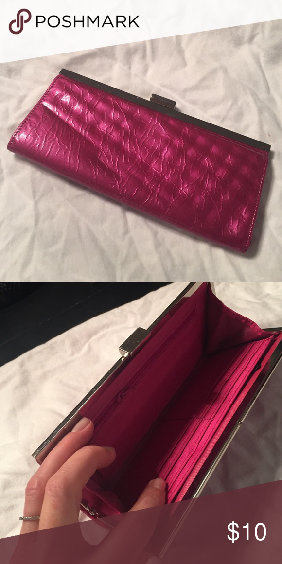 Clutch wallet Pink clutch with card holder inside. Patent leather like. Good condition. Some wrinkles from being packed away. Francesca's Collections Bags Clutches & Wristlets