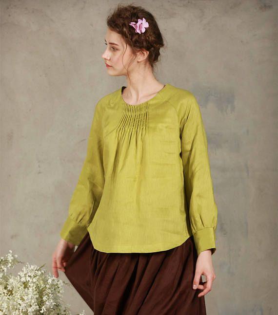 linen tunic, lime green linen blouse, longsleeve linen shirt