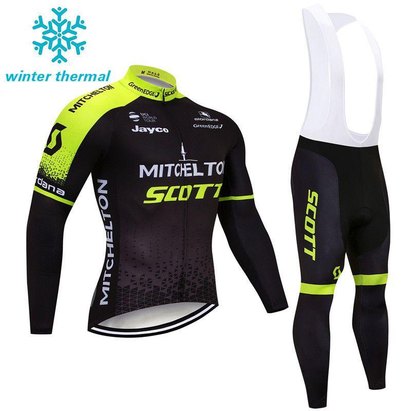 406197705 Mens Team Winter Cycling Outfits Jersey Bib Pants Kits Fleece Warm Jacket  Tights  UnbrandedGeneric