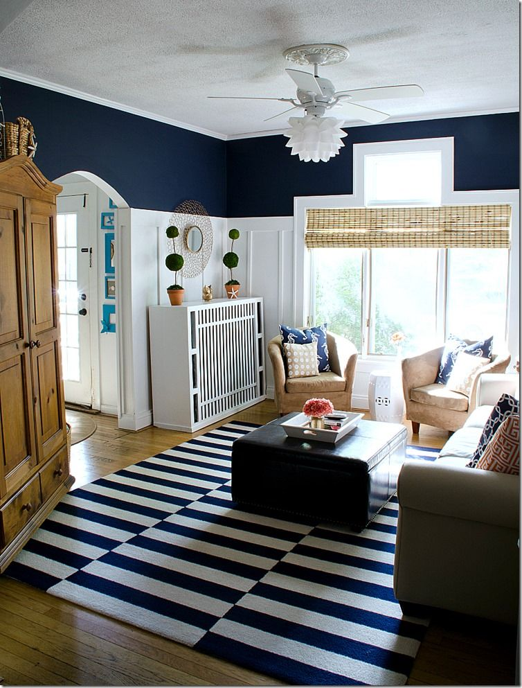 Bedroom And Living Room Designs: Navy And White Board & Batten Living Room Design
