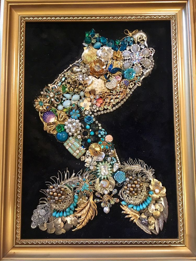 Gorgeous Mermaid Tail Made From Vintage Jewelry Framed Wall Art 12 5 034 X 16 25 034 Ebay Vintage Jewelry Art Vintage Costume Jewelry Vintage Costumes