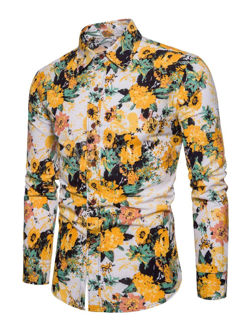 dada50fdd361 Yellow Hawaii Shirt Men Linen Beach Shirt Long Sleeve Casual Shirt ...