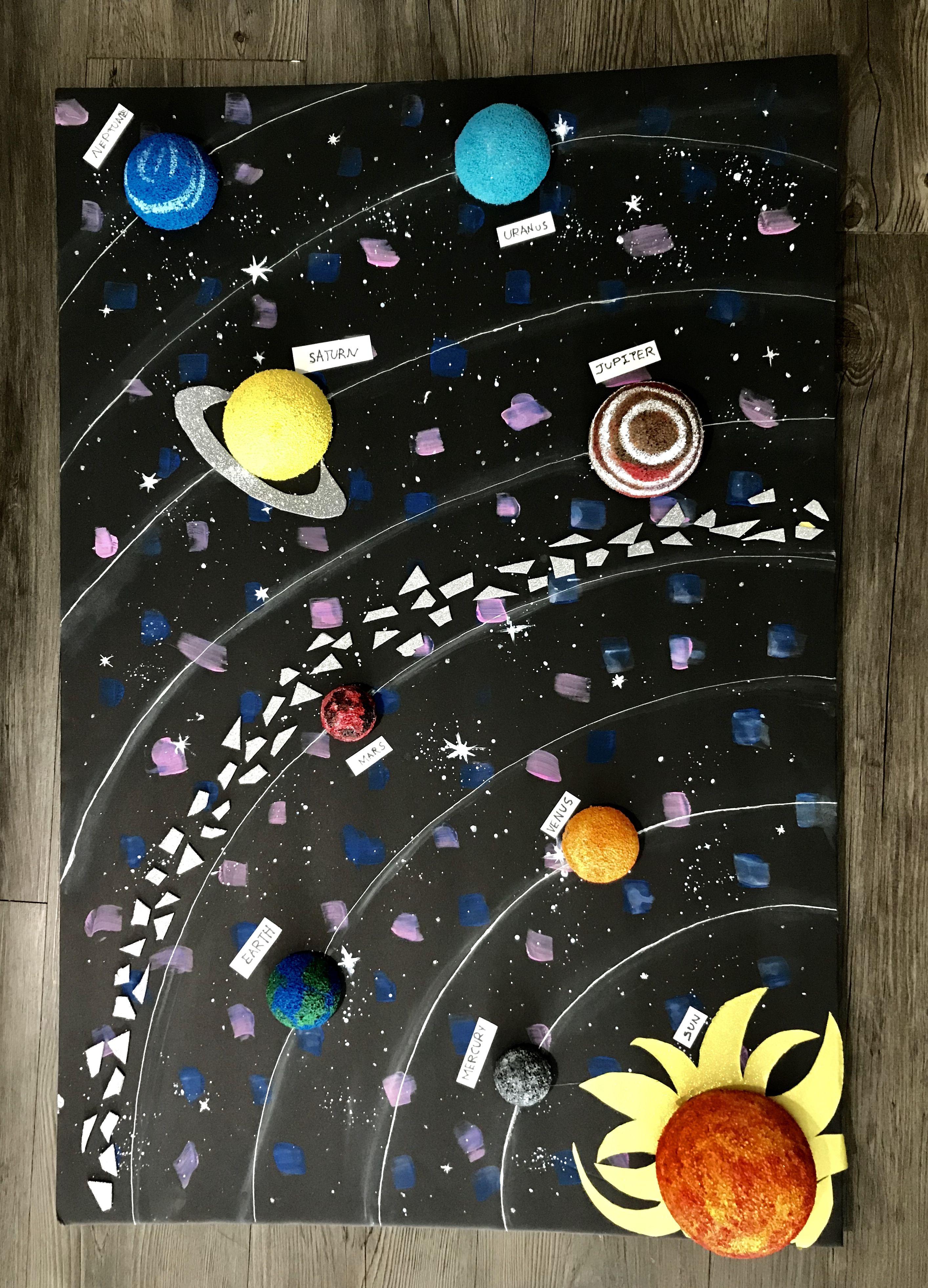 Easy School Project Solar System Handmade Using