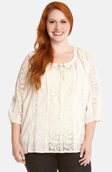494fc6182ae Gorgeous Lace! Breezy Pullover Lace Inset Peasant Blouse