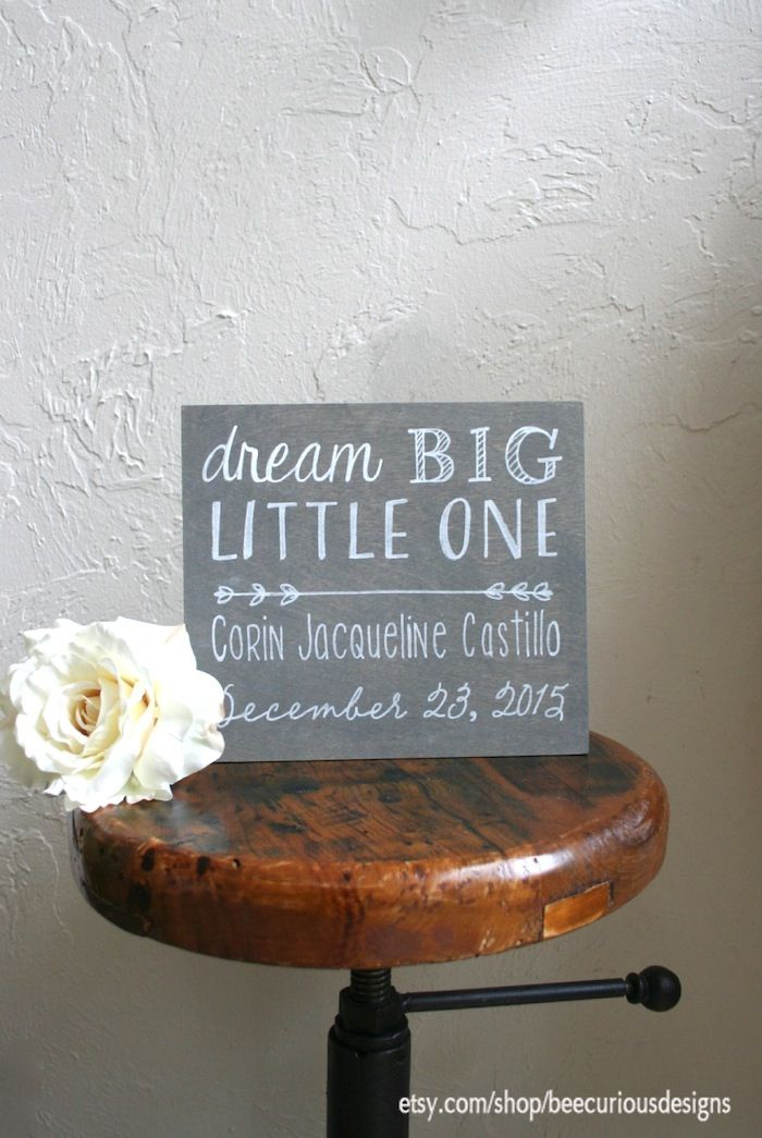 Graywash stained plywood nursery sign. Baby shower gift, keepsake, baby welcome. Dream big little one.