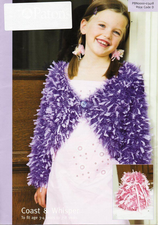 girls furry bolero knitting pattern pdf childs fur bolero girls cardigan 10ply ribbon yarn & DK eyelash yarn 22-28″ pdf instant download