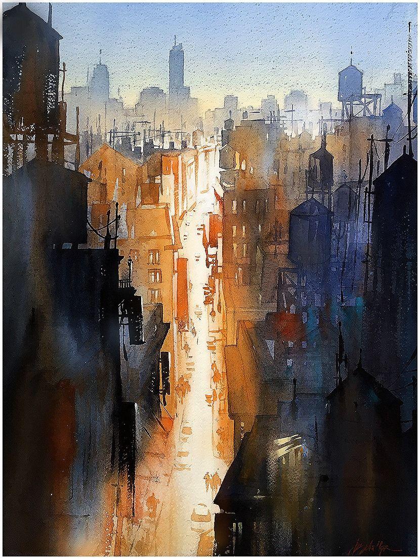 """We Never Sleep"" Thomas W Schaller. Watercolor - 76x56 cm on #Fabriano Artistico - 2015"