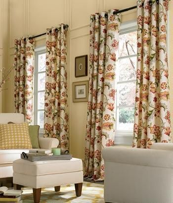 Jacobean Floral Lined Grommet Top Curtains Country