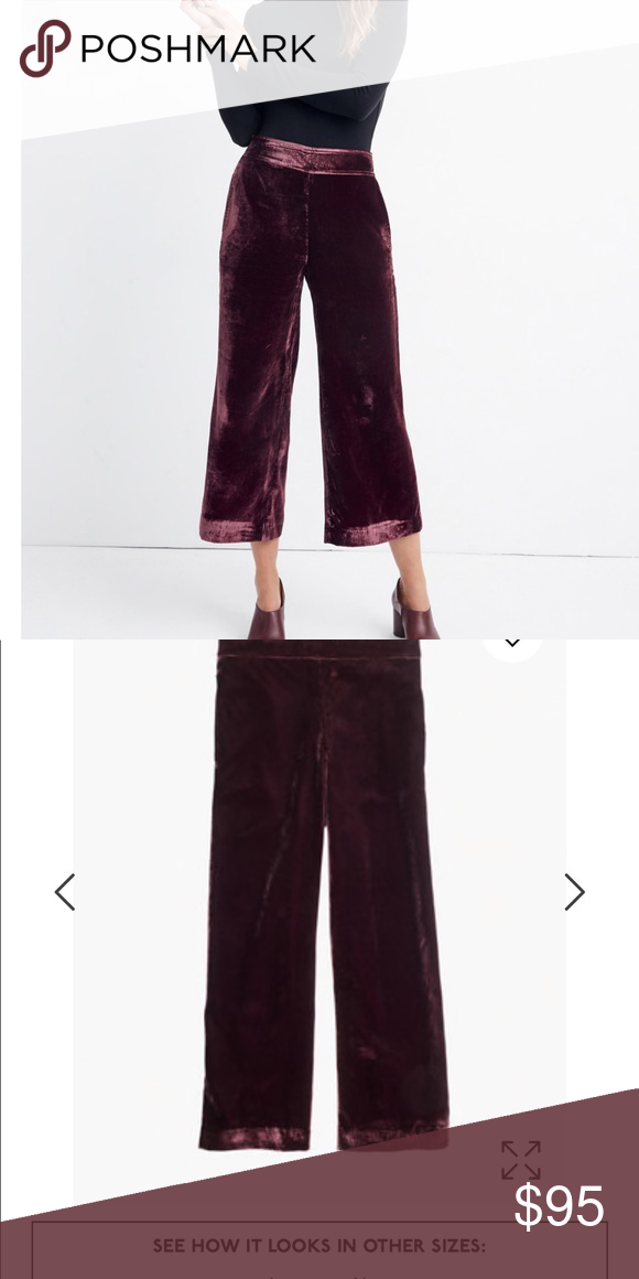 11351cf684e6d2 Velvet Huston Pull-On Crop Pants Madewell pants size small NWT 🙌🏼 Swingy  wide-leg pants in lustrous velvet. Polished enough to wear to a party, ...