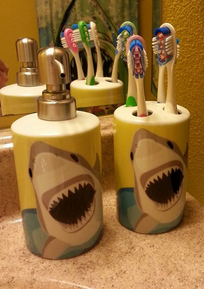 Custom Soap Dispenser And Toothbrush Holder From Zazzle For My Jaws Bathroom