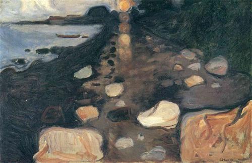 Moonlight On The Shore 1892 Edvard Munch Symbolism Artedvard