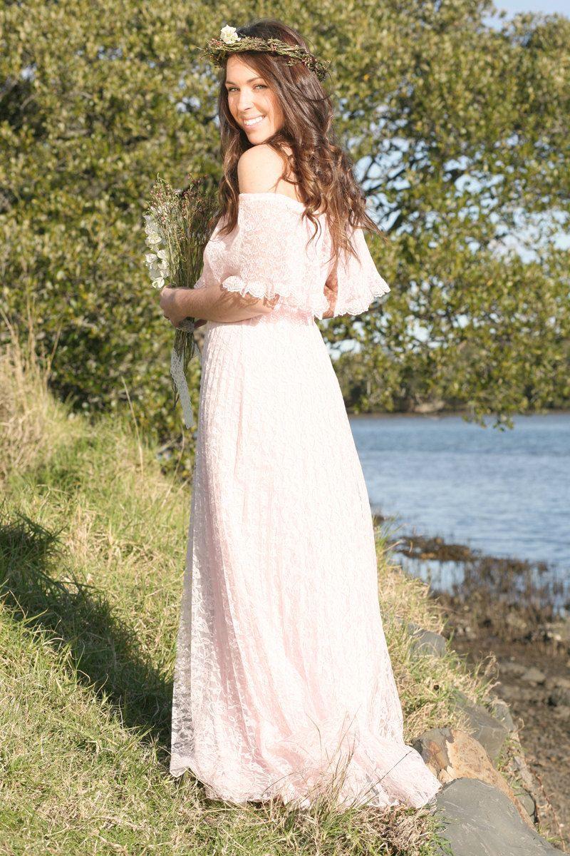 Unique wedding dresses non white bridal gown blush pink lace