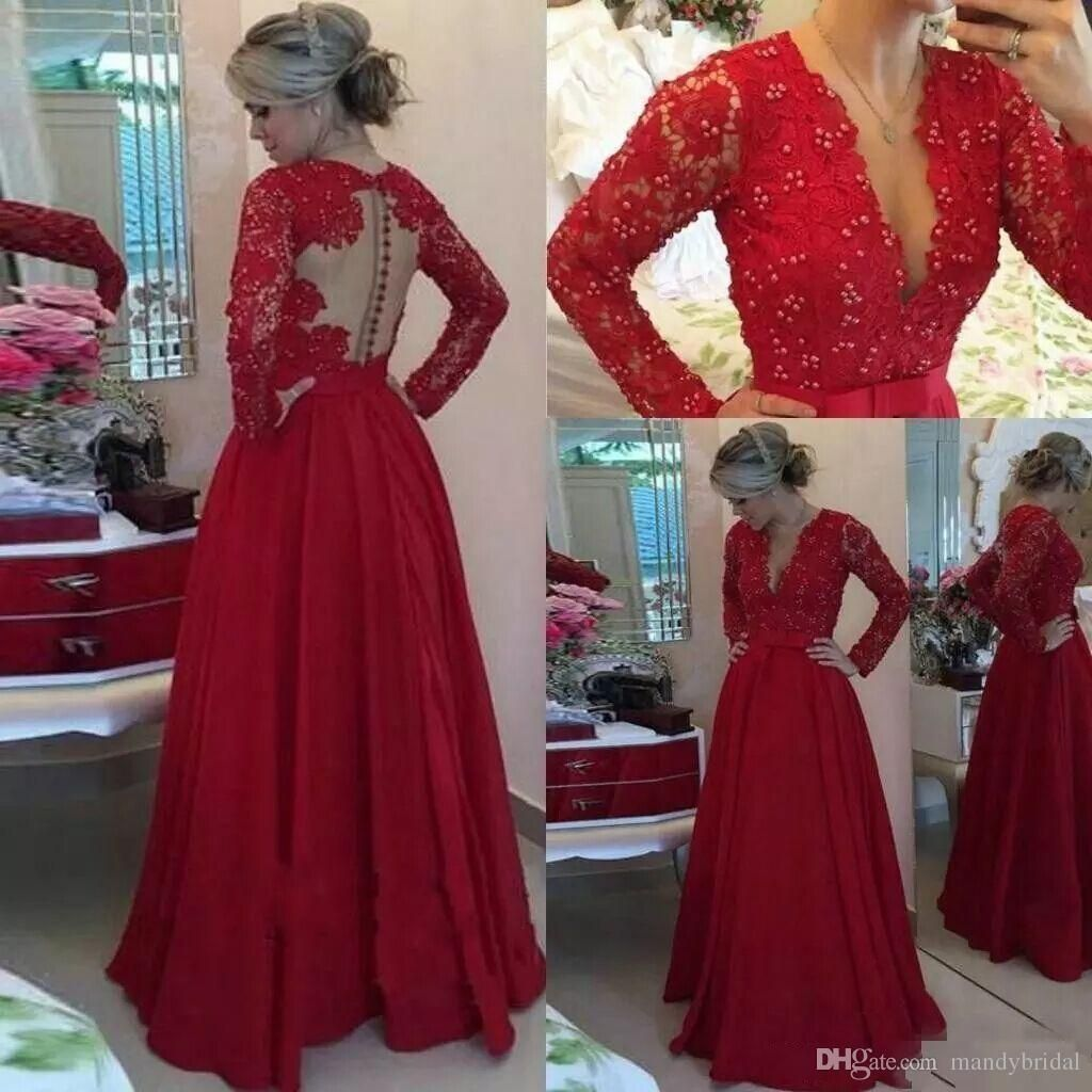 elegant lace prom dresses long sleeves chiffon red pearls