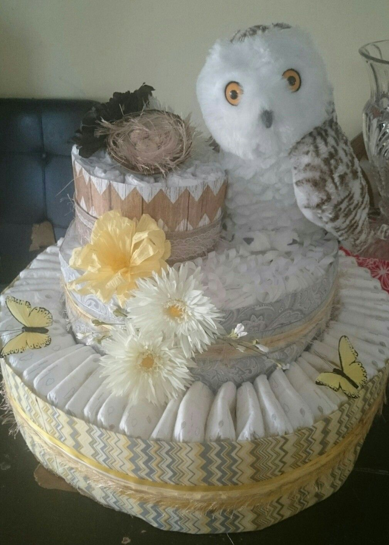 Snowy owl diaper cake sewingcrafting pinterest owl diaper cakes snowy owl diaper cake baditri Gallery