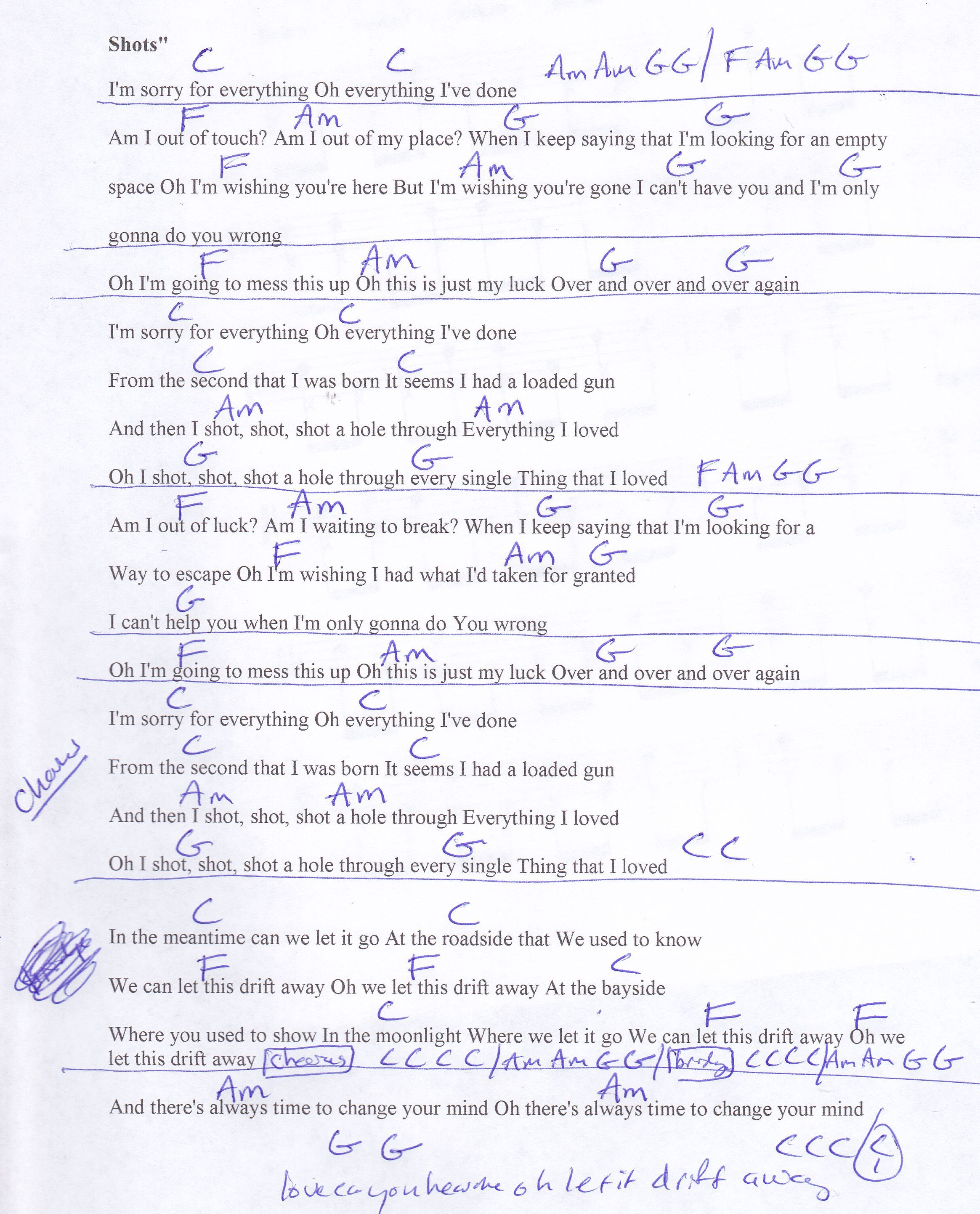 Shots (Imagine Dragons) Guitar Chord Chart
