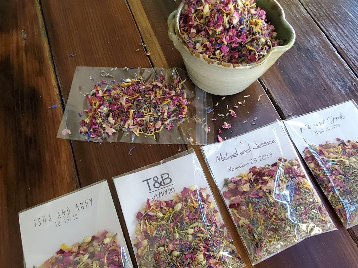 Wedding Confetti, Personalized Send Off Bags, premade