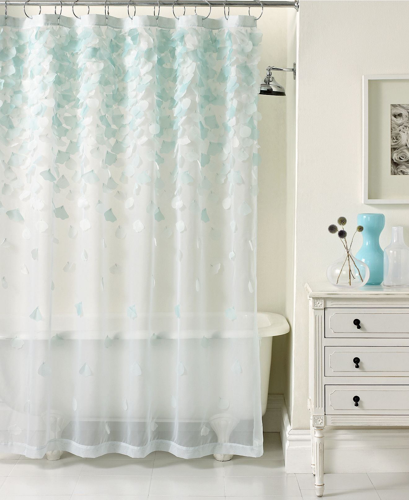Shop for Bathroom Accessories online at Petals aplenty  Dainty petals on a  sheer backdrop disperse down this lovely shower curtain from Martha Stewart. Martha Stewart Collection Falling Petals Shower Curtain   Home
