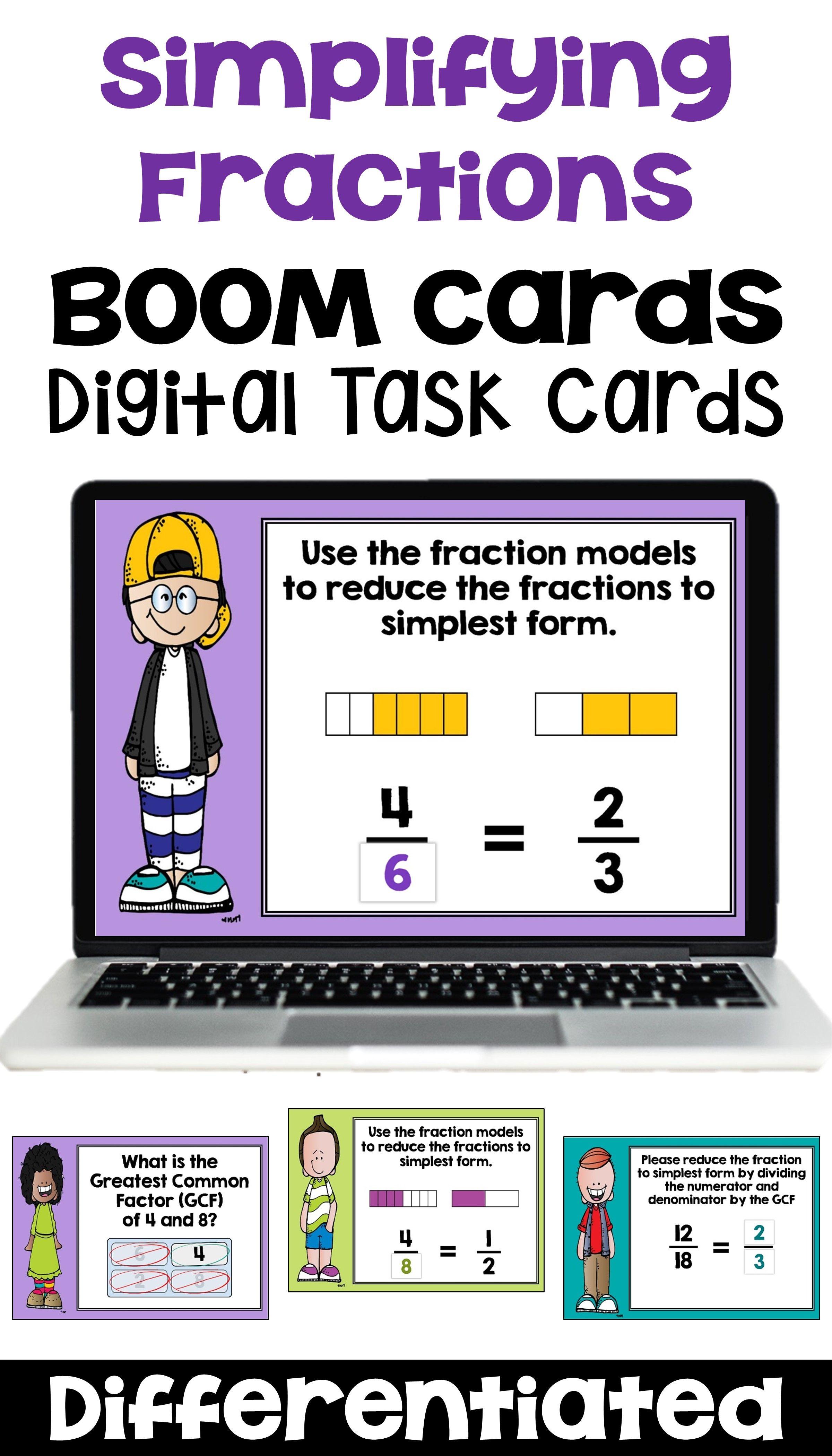 Simplifying Fractions Digital Task Cards
