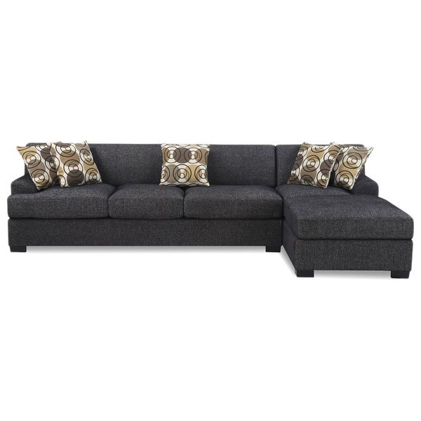 2 Piece Modern Ash Grey Contemporary Linen Fabric Sectional Sofa
