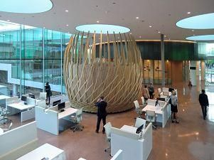 Interior Rabobank Nederland - Utrecht, design 'birdsnests' Pentagram (GB), made by Hoogedoorn