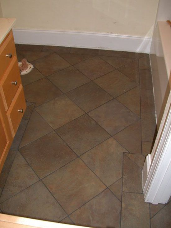 Floor Tile Layout Patterns | ... Tile Flooring Idea Use Large In Small  Bathroom