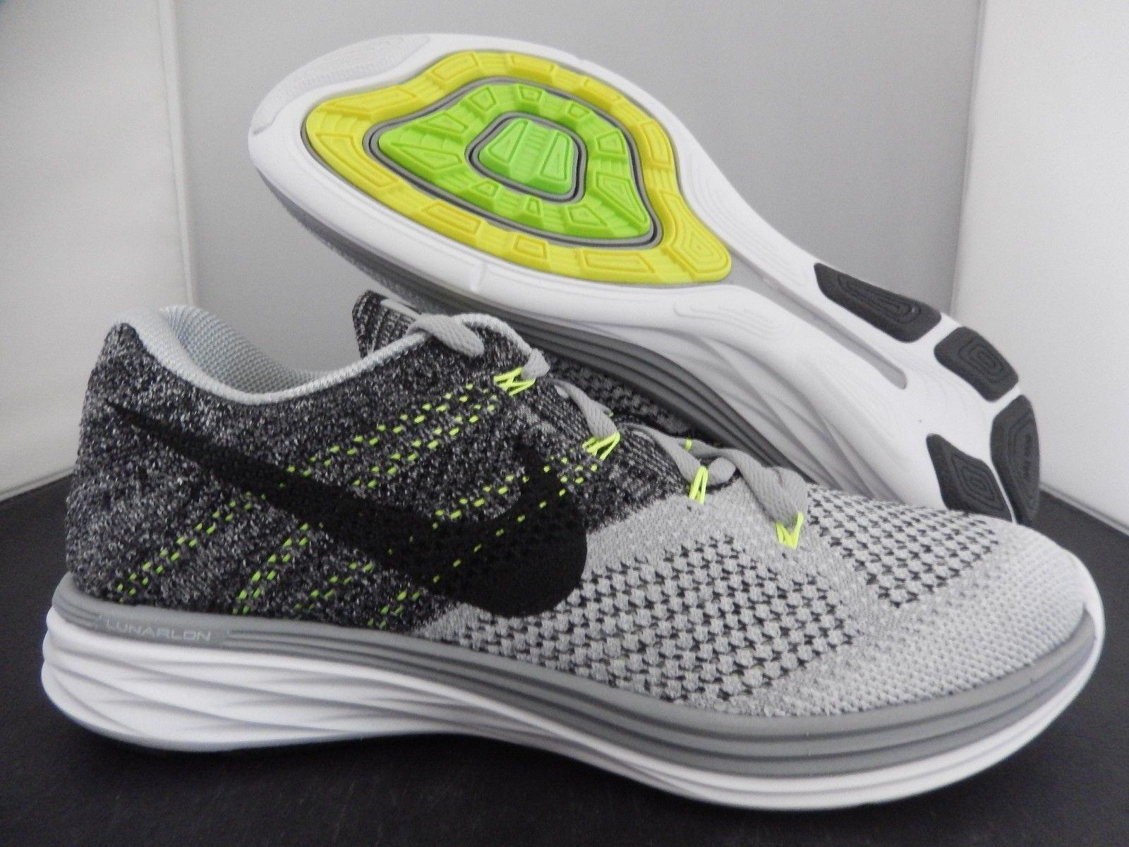 Nike Flyknit Lunar 3 Wolf Grey Black White Volt 698181 009 Nike Flyknit Lunar 3 Nike Lunar Flyknit Lunar