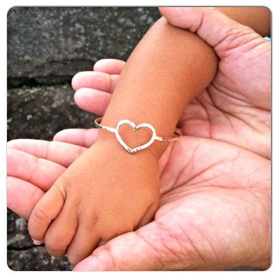 Gold Heart Bangle Baby Bracelet Little Girl Jewelry Baby Shower