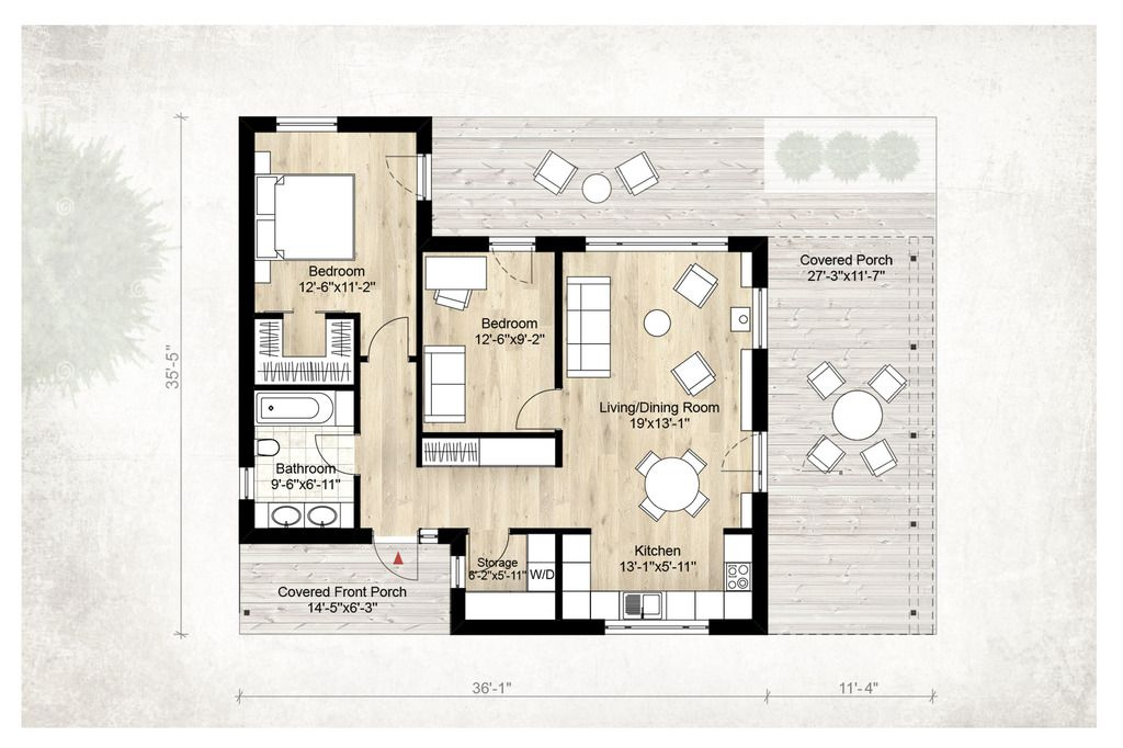Modern Style House Plan - 2 Beds 100 Baths 850 Sq/Ft Plan #924-3