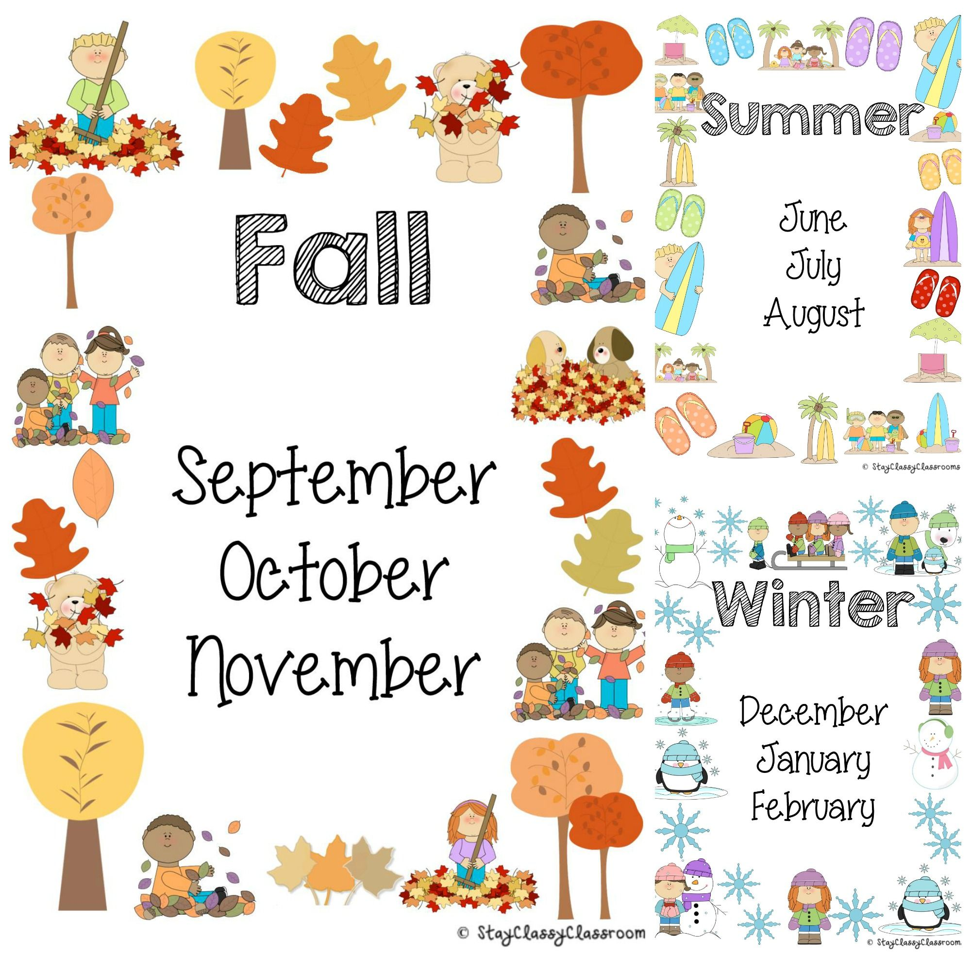 Season Posters To Assist Children With The Months That Are