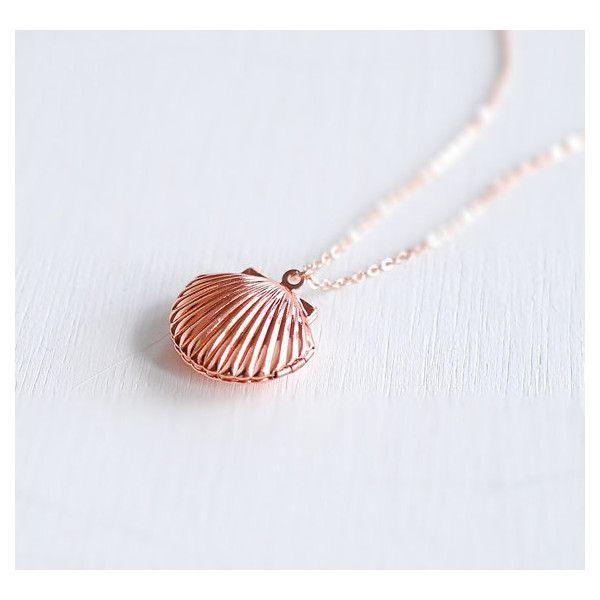 Rose Gold Seashell Locket Necklace Sea Shell Locket Necklace Mermaid