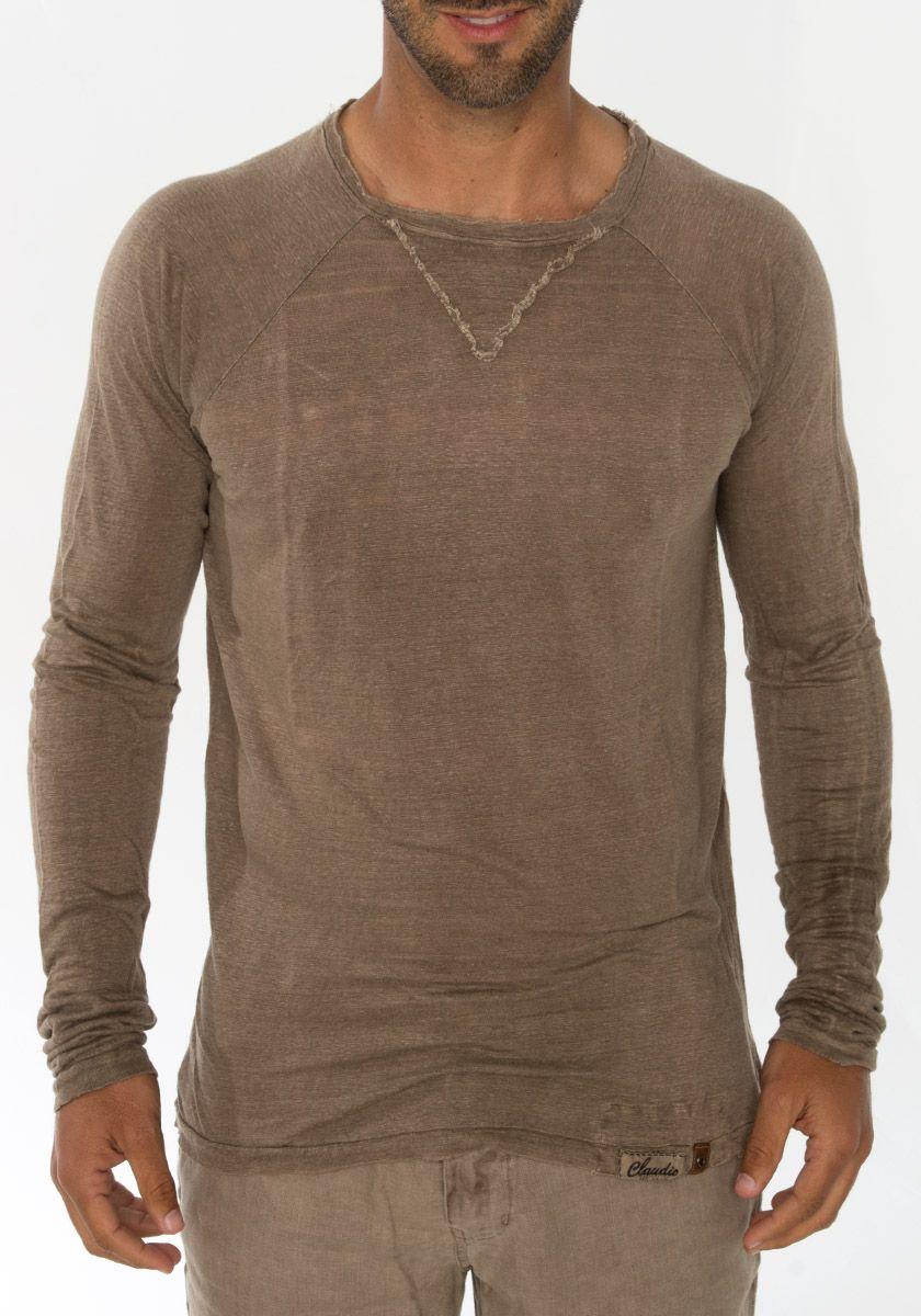 100 Jersey Linen Long Sleeve T Shirt In Khaki Long Sleeve Tshirt Men Mens Shirts Linen Style Fashion