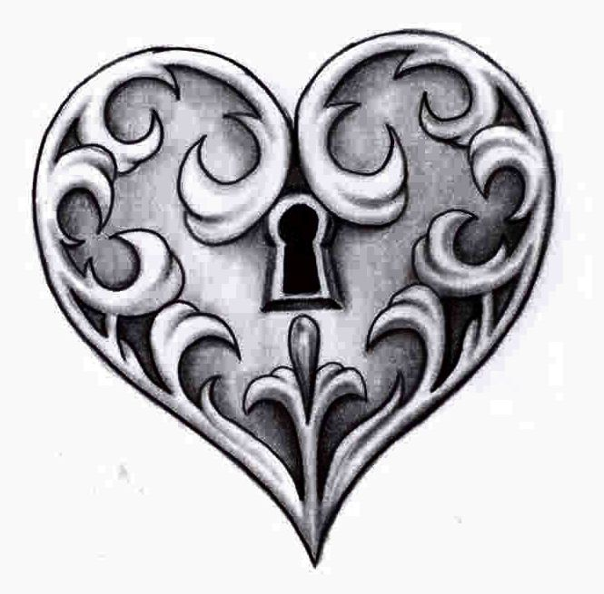 This is an image of Satisfactory Heart Lock And Key Drawing