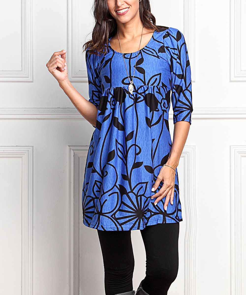 blue & black floral empire-waist tunic dress - plus too | products
