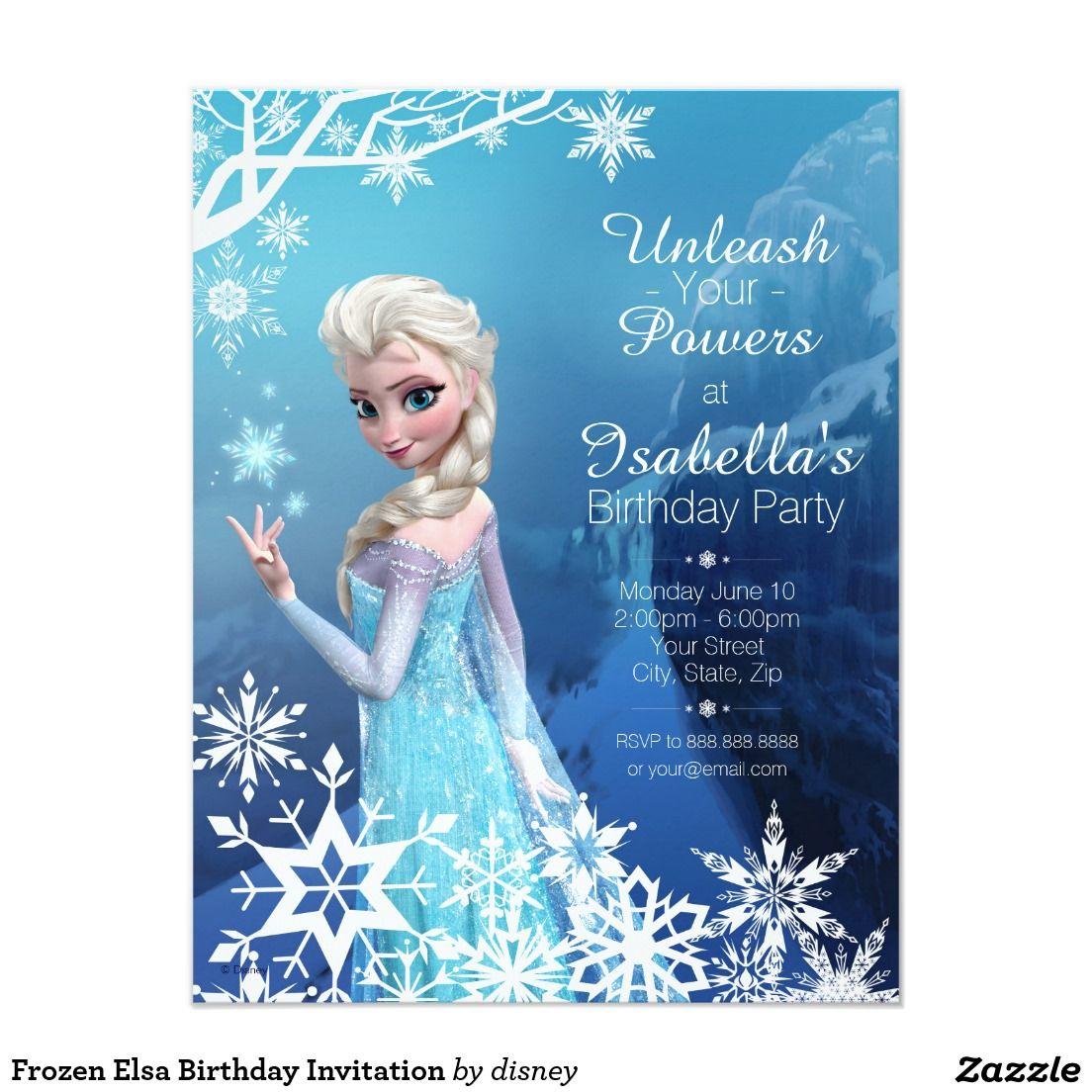 Frozen Elsa Birthday Invitation 4 25 X 5 5 Invitation Card Elsa Birthday Invitations Frozen Birthday Invitations Frozen Themed Birthday Party