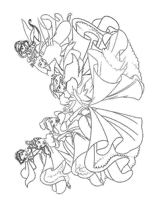 Alle Kleurplaten Van Tinkerbell.Kleurplaat Disney Prinsessen Alle Disney Prinsessen Website Heeft