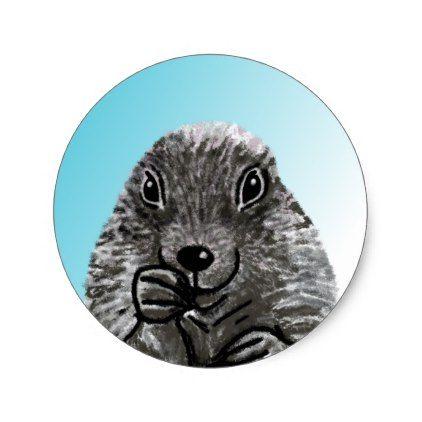 A Cute Prairie Dog Drawing Classic Round Sticker Animal Gift Ideas