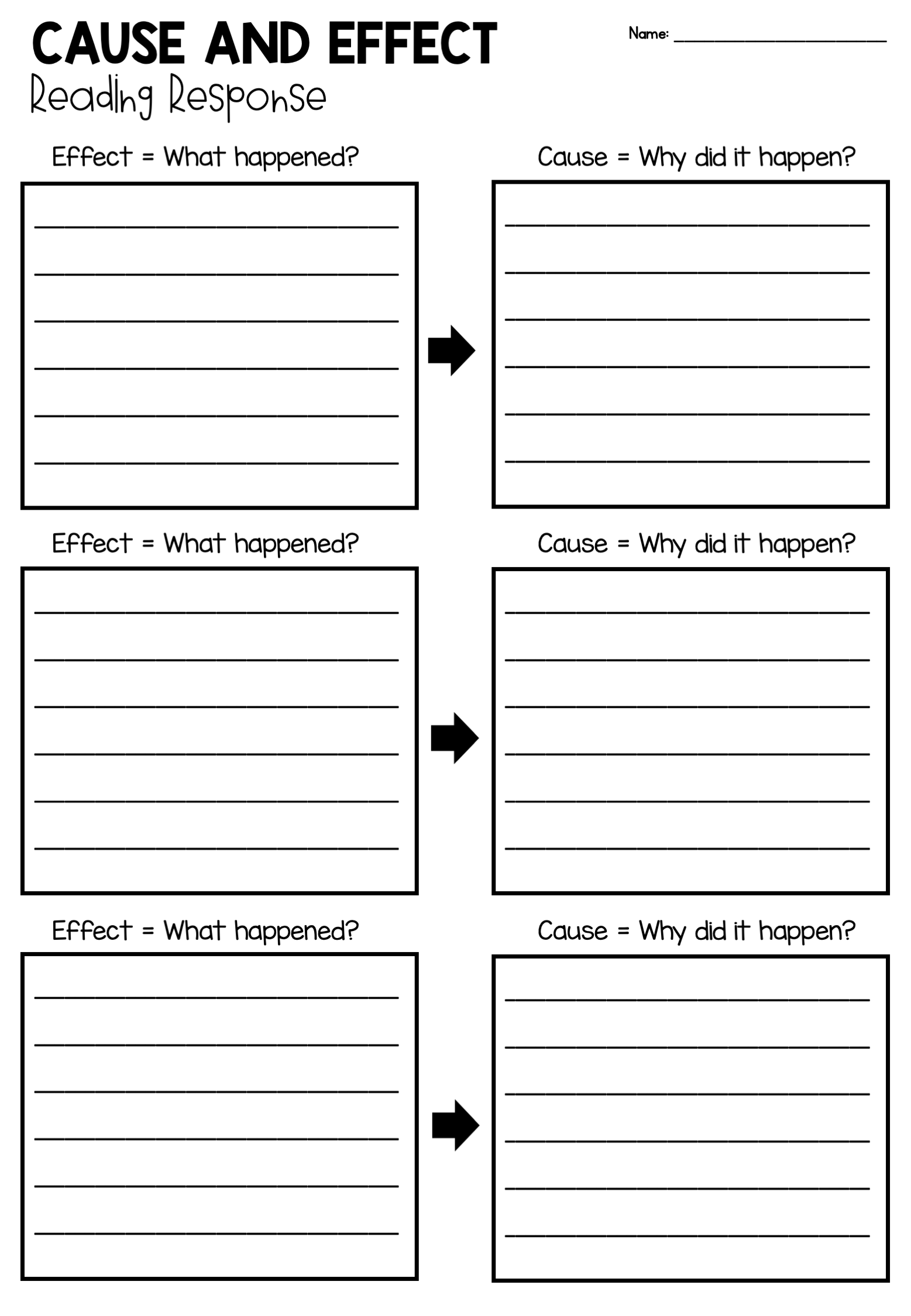 Cause And Effect Free Reading Response