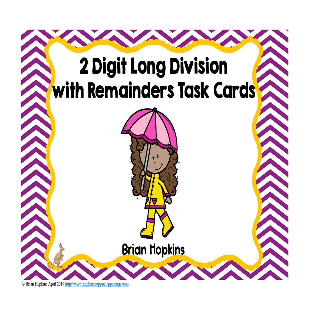Rainy Day 2 Digit Long Division With Remainders Task Cards