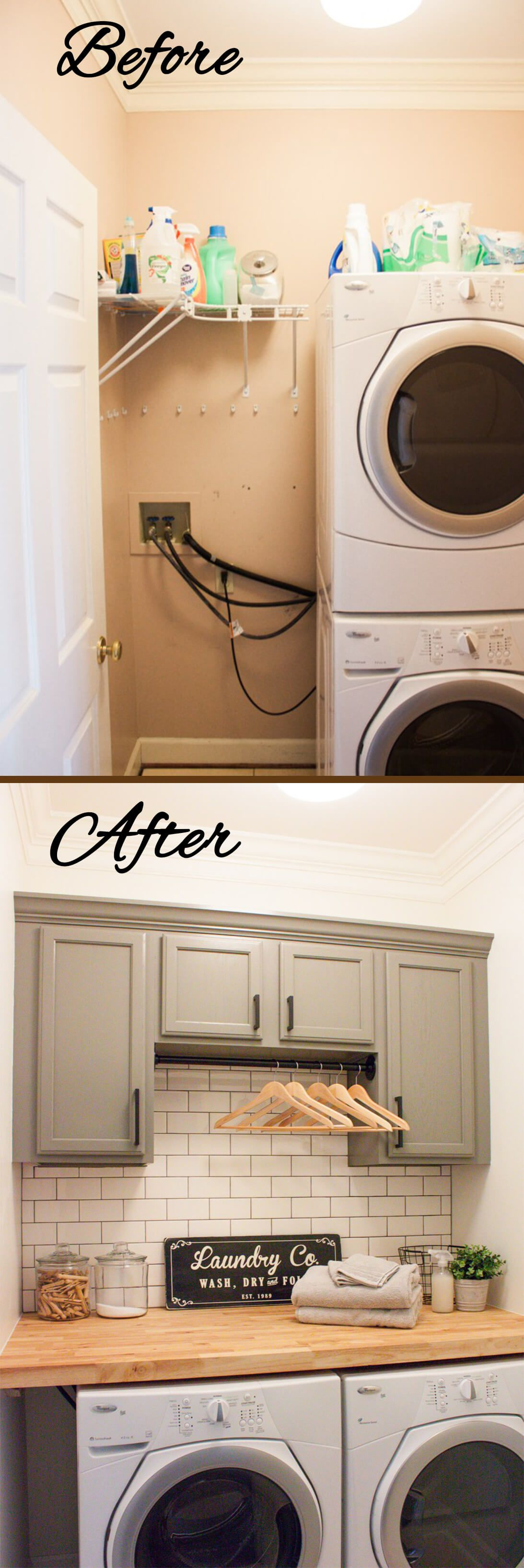 Stacked To Flat With Extra Storage Laundry Room Organization Design
