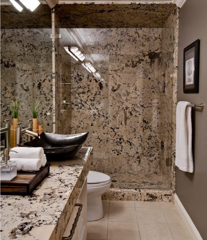 River White Granite Bathroom: Alaska White Granite, Black Vessel Sink, Right Color Of