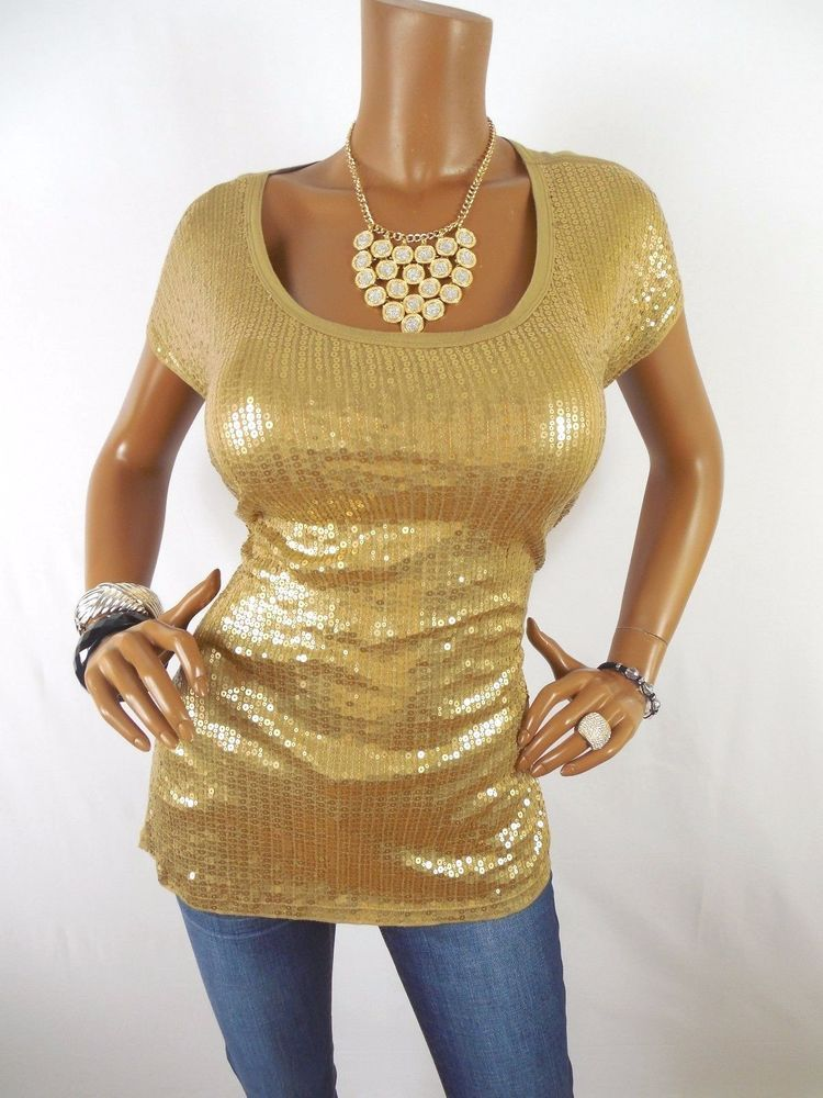JONES NY Womens Top XL Tan Gold Metallic Shirt Stretch