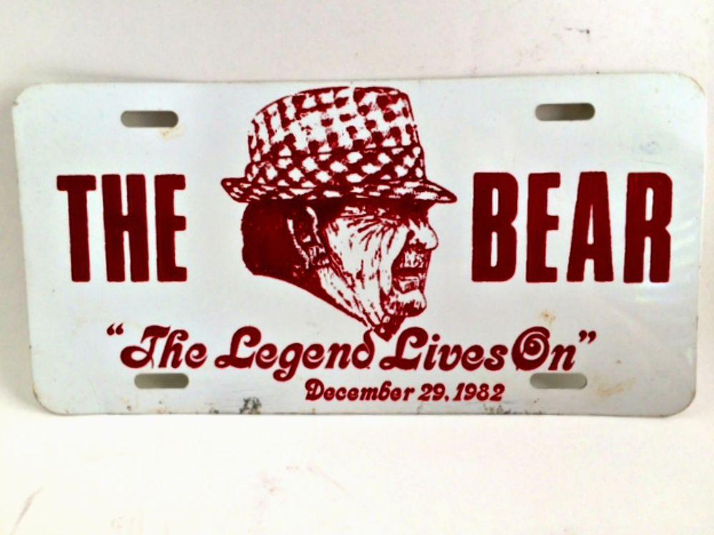 Vintage Car Tag University Alabama Bear Bryant The Legend Lives On ...