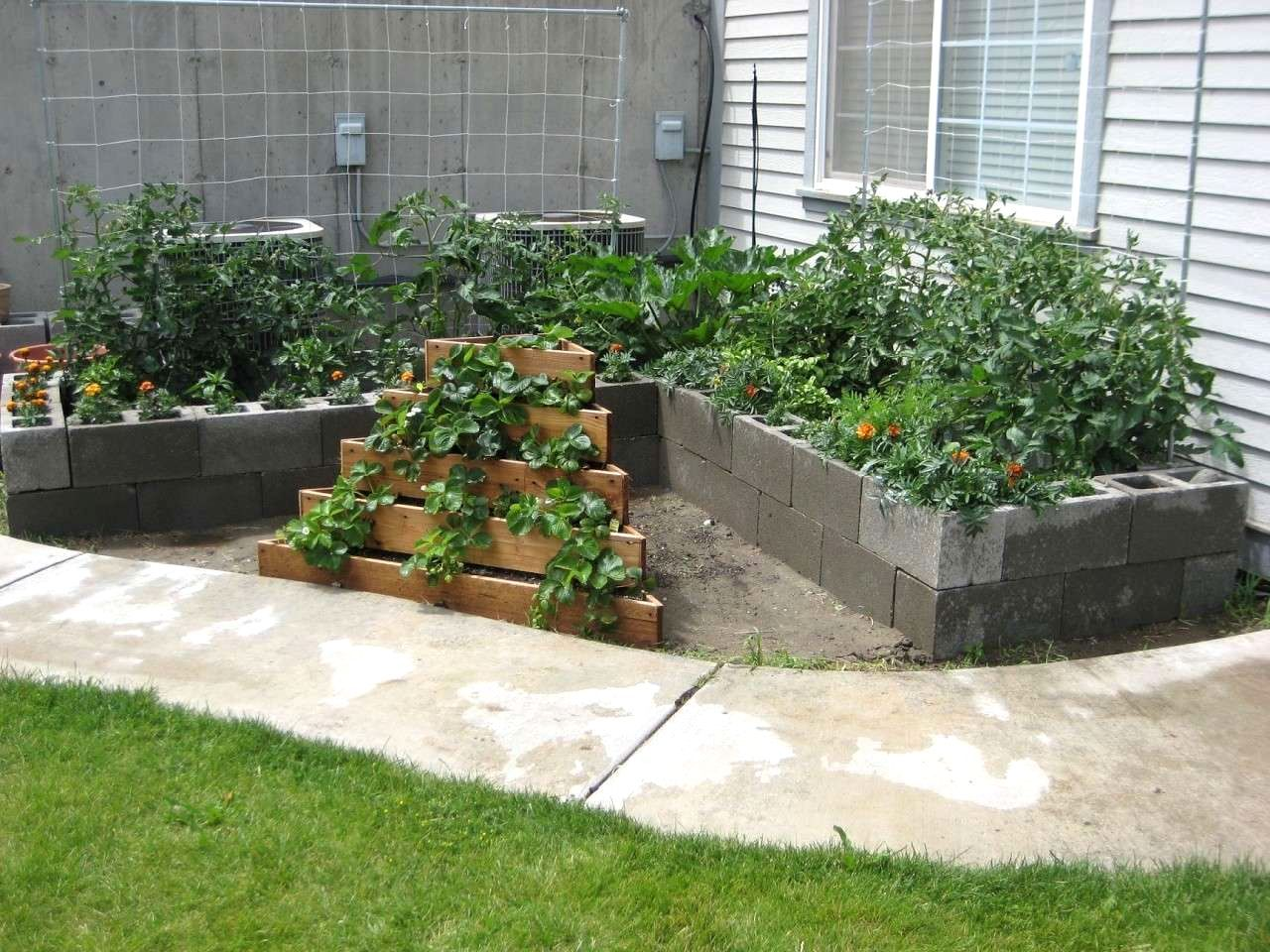 Raised Vegetable Garden Using Cinder Blocks Architecture Nice ...