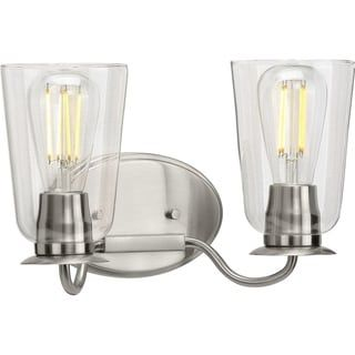 Photo of Durrell Collection bathroom in brushed nickel with two light sources (60 W – 2 lights), progress lighting