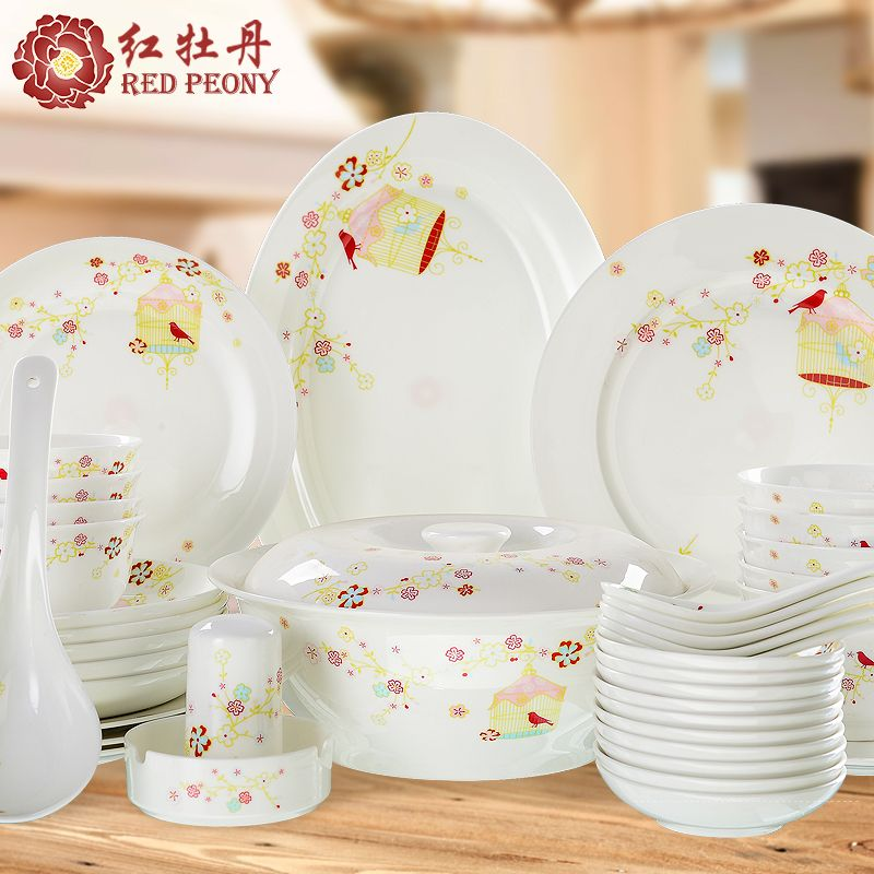 Tangshan Chinese Dishes Set Bone China Tableware Ceramic Tableware Set Simple Bowls Chopsticks Set Gift Box Tableware Set Chopsticks Set Ceramic Tableware